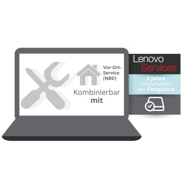 Lenovo Garantieerweiterung: Einbehalten der Festplatte kombinierbar mit 3 Jahre Vor-Ort Service